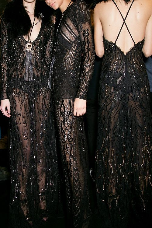 Sheer black lace & beading as seen on the runways dramatically revealing feminine form. Posted October 8, 2015