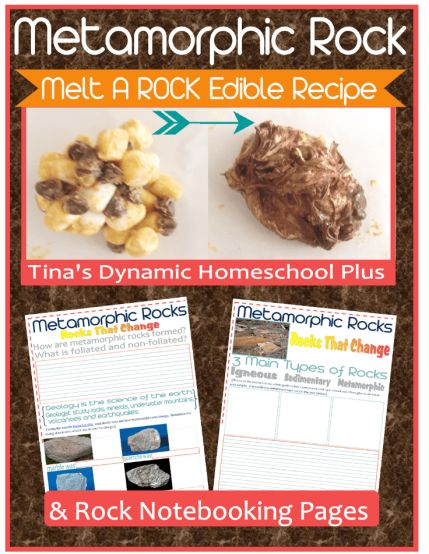 Tina's Dynamic Homeschool Plus has FREE Recipe and printables to make an edible metamorphic rock and notebooking pages. This is a fun, educational