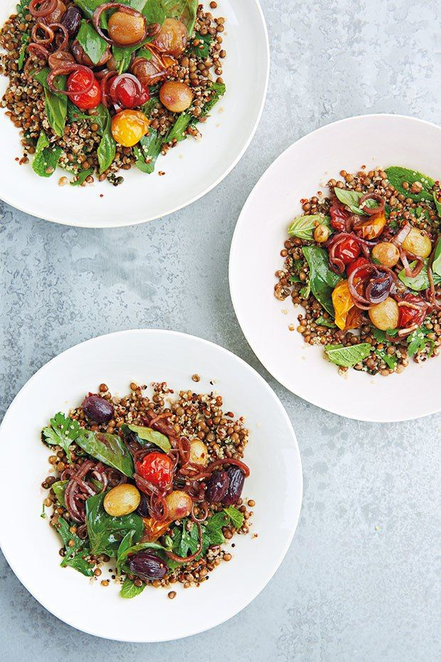 Puy lentils, quinoa, pomegranate-roast grapes and tomatoes, chili, mint and basil from Savour by Peter Gordon.