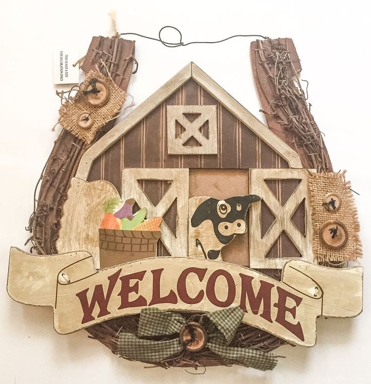 Rustic Wooden Country Wreath Welcome Sign Horseshoe Barn Primitive Decor #RusticPrimitive