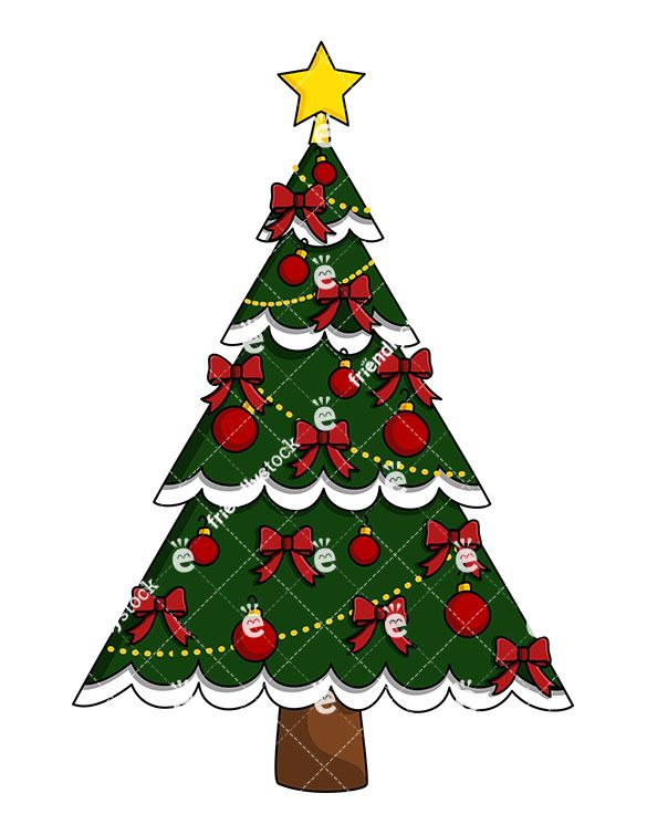 Christmas Tree With Red Ribbons And Ornaments Vector Friendlystock Christmas Tree Ornaments Christmas Tree Red Christmas Tree