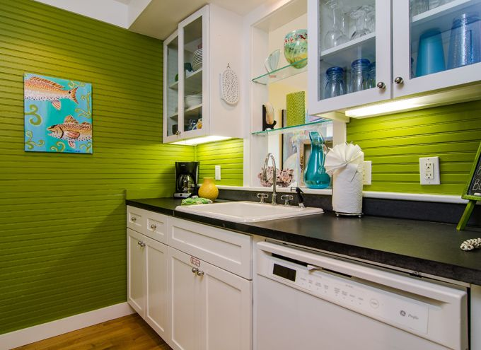 Great use of lime in a kitchen...really POPS!!  House of Turquoise: