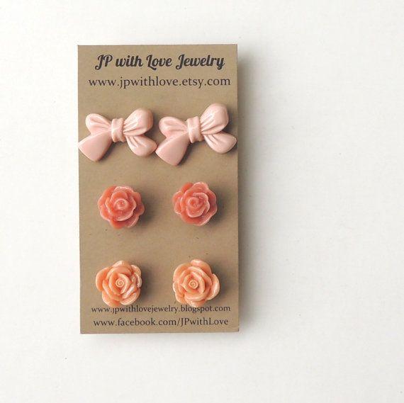 Flower Stud earrings peach Stud earrings dusty pink by JPwithLove, $18.00