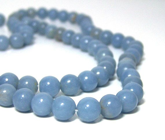 Angelite beads natural light blue gemstone 8mm by RiverSongBeads, $7.45
