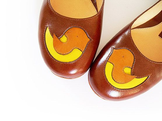 Handmade 100% genuine leather ballerina shoes with Birdie - Autumn colours-size37 on Etsy, $190.00