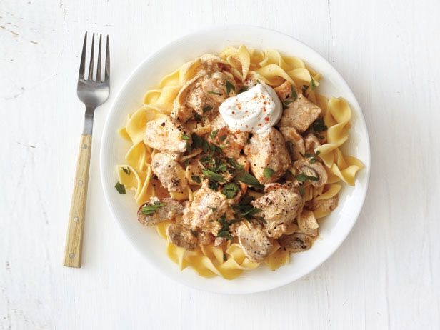 Chicken Stroganoff from FoodNetwork.com. Made this tonight and it was AWESOME! Fast enough for a weeknight, this will definitely make its way into our rotation. Added a little diced red bell pepper, couple of Tblsp sherry and a wee bit of lemon zest. YUM!