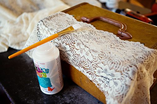 DIY Vintage Suitcase-paint white and add lace for bedside table
