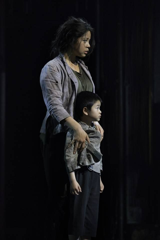 Kim and Tam played by Eva Noblezada and William Tao performing at the Prince Edward Theatre. Photo by Michael Le Poer Trench.