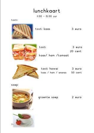 speelhoek het restaurant lunchkaart