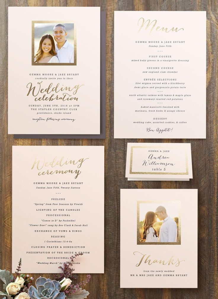 first line of wedding invitations%0A Modern Wedding Invitation Suite with Engagement Photo