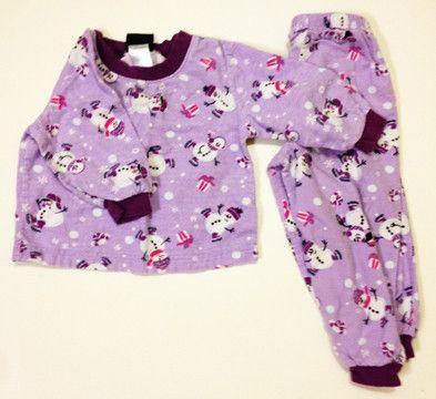 Girl Purple flannel snowman pyjamas size 2. 5$