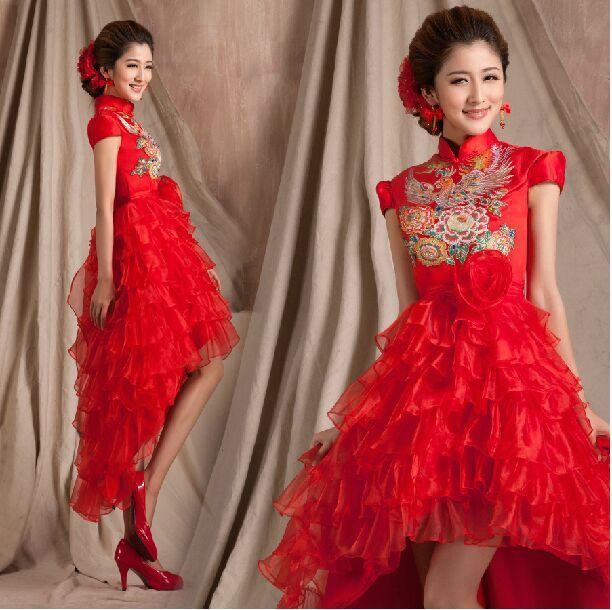 Дешевое 2015 cheongsam вечернее платье красный низкий высокий невесты свадебное платье китайский стиль свадебное вечернее платье свадебные платья Novia, Купить Качество Китайские женские халаты непосредственно из китайских фирмах-поставщиках:  ДЕТАЛИ ПРОДУКТА