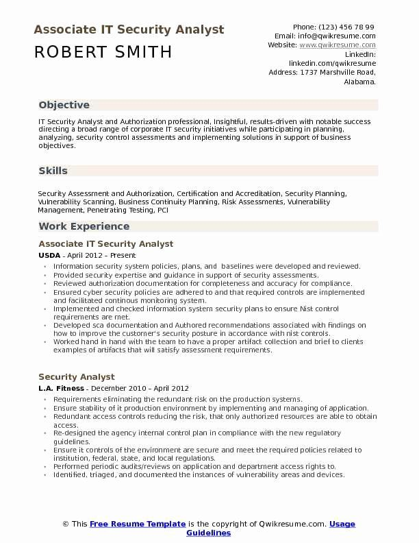 Information Security Resume Sample Lovely It Security Analyst Resume Samples In 2020 Security Resume Resume Marketing Resume