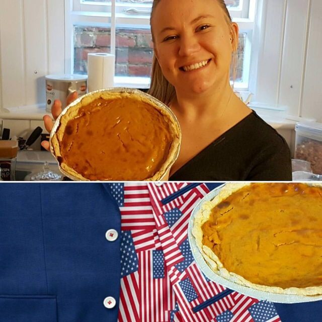 Happy thanksgiving America! We're celebrating the holiday over here in England with an amazing pumpkin pie baked by Hannah! 