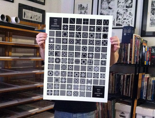 Each One to One Hundred poster is a different graphic design representation of numbers from 1 to 100.