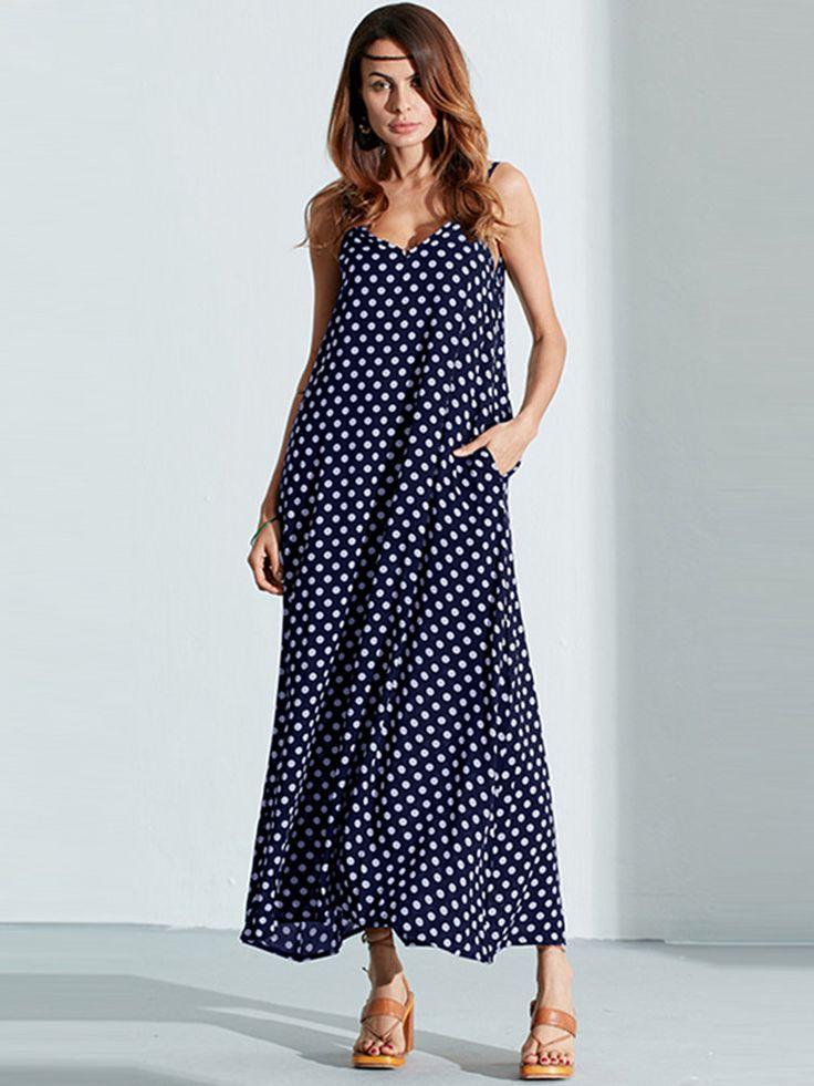 Women Summer Sexy V-Neck Strap Dot Backless Beach Maxi Dress - Banggood Mobile
