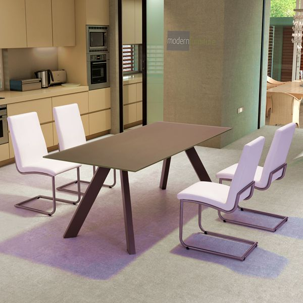 Zuo Emard Mocha White Steel And Glass Dining Table Brown Finish Cappuccino