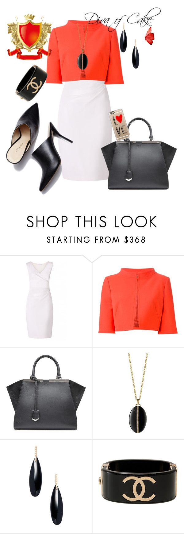 """White orange and black outfit"" by kercey ❤ liked on Polyvore featuring Diane Von Furstenberg, Alberta Ferretti, Fendi, Monica Rich Kosann, Janis Savitt, Chanel and Casetify"