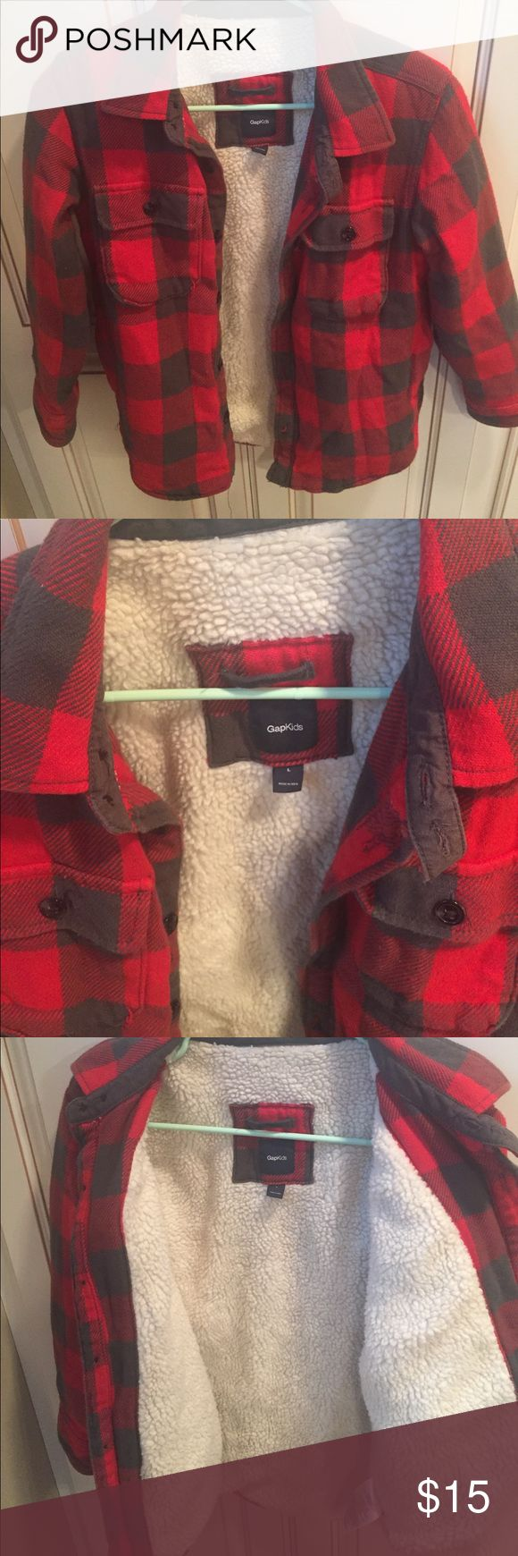 Gap kids boys jacket Gap Kids boys size Large 10-12 fleece lined flannel coat. Red and gray with cream colored fleece. GAP Jackets & Coats