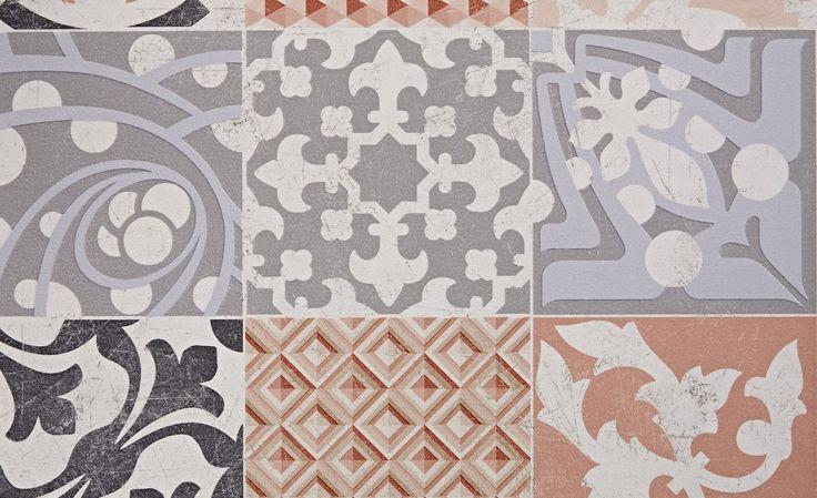 Sol vinyle TEXLINE, carreau ciment rouge, rouleau 4 m - Sol Vinyle - Collection Sol - Saint Maclou