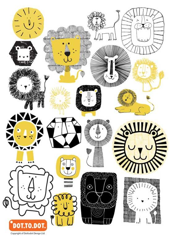 Sarah Braithwaite L Beautiful line art and print textures of Lions by Dot.To.Dot.