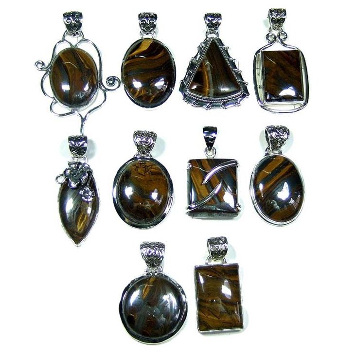Silver Jewelry Pendants Lot With Multi Tiger Eye Gemstones   Price $USD   285  Weight 250 gms