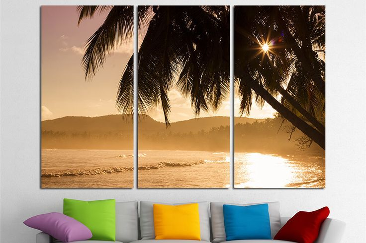 Sunset Tropical Large Wall Art Canvas Print Island Beach Extra Large Art Canvas Beach Wall Art Beach Canvas Art Ocean Canvas Print Wall Art by RainbowArtStore on Etsy https://www.etsy.com/listing/493205817/sunset-tropical-large-wall-art-canvas