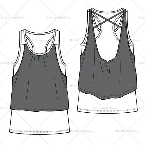 Women's Knit Tank Top Fashion Flat Template