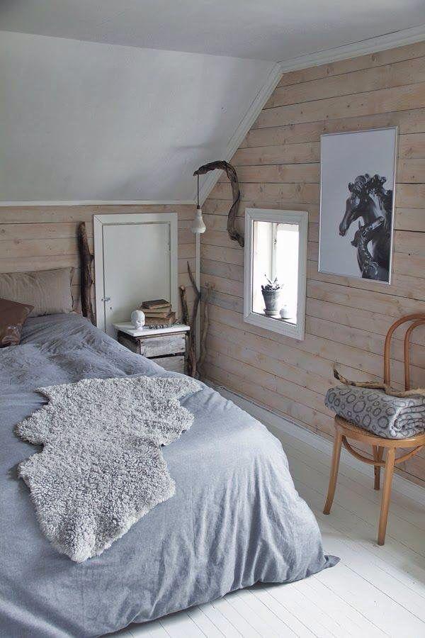 ... van wit, grijs en hout in slaapkamer  slaapkamer  Pinterest  Van
