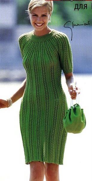 Вязаное платье спицами описание и схема