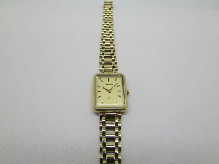 SRW1 14kt Solid Yellow Gold Vintage Italy Ladies Geneve Quartz Watch Gift Box  #Geneve #Dress