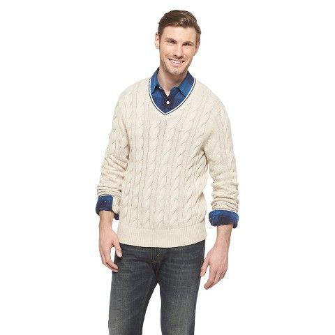 15 Men's Cable Knit Sweater Oatmeal Heather - Merona®