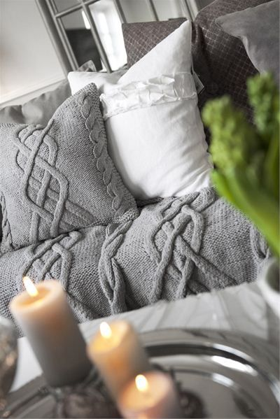 Gray and white bedding.
