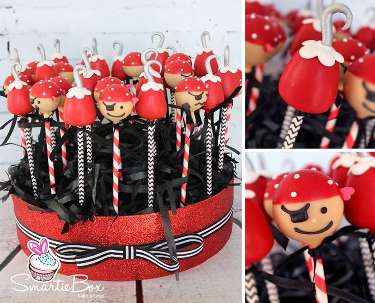 Red and black, pirate and Captain Hook Cake Pops - SmartieBox Cake Studio