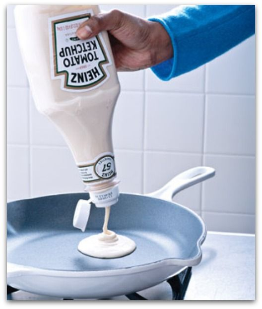 Ketchup bottle for pancake batter - how smart is this?