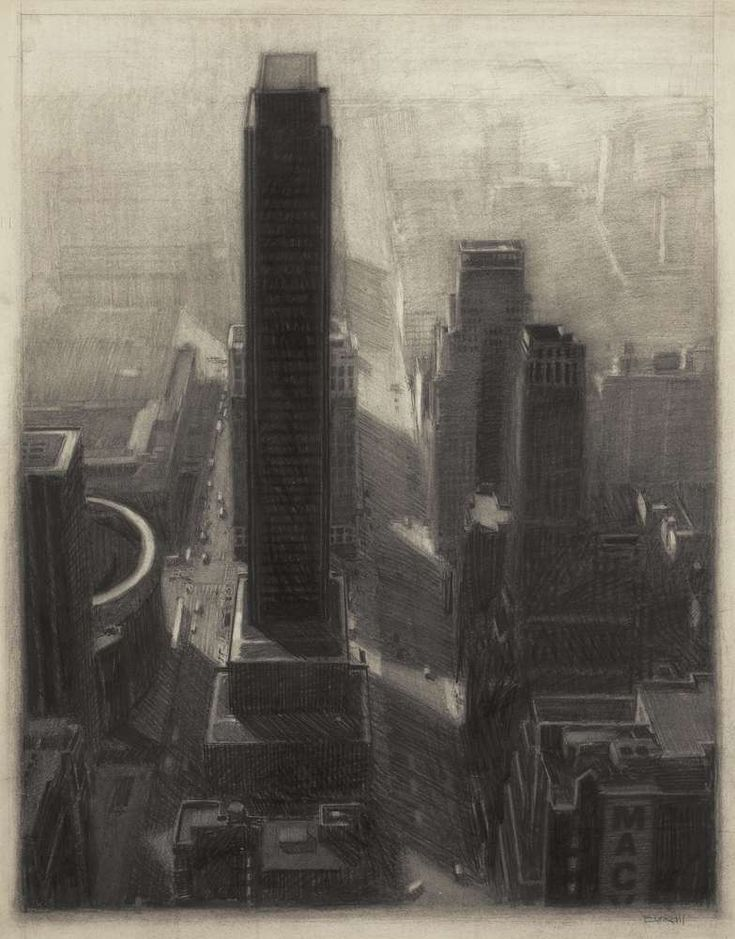 New York Cityscape, 30'' x 23.5'', charcoal on paper, 1985 - Richard Bunkall