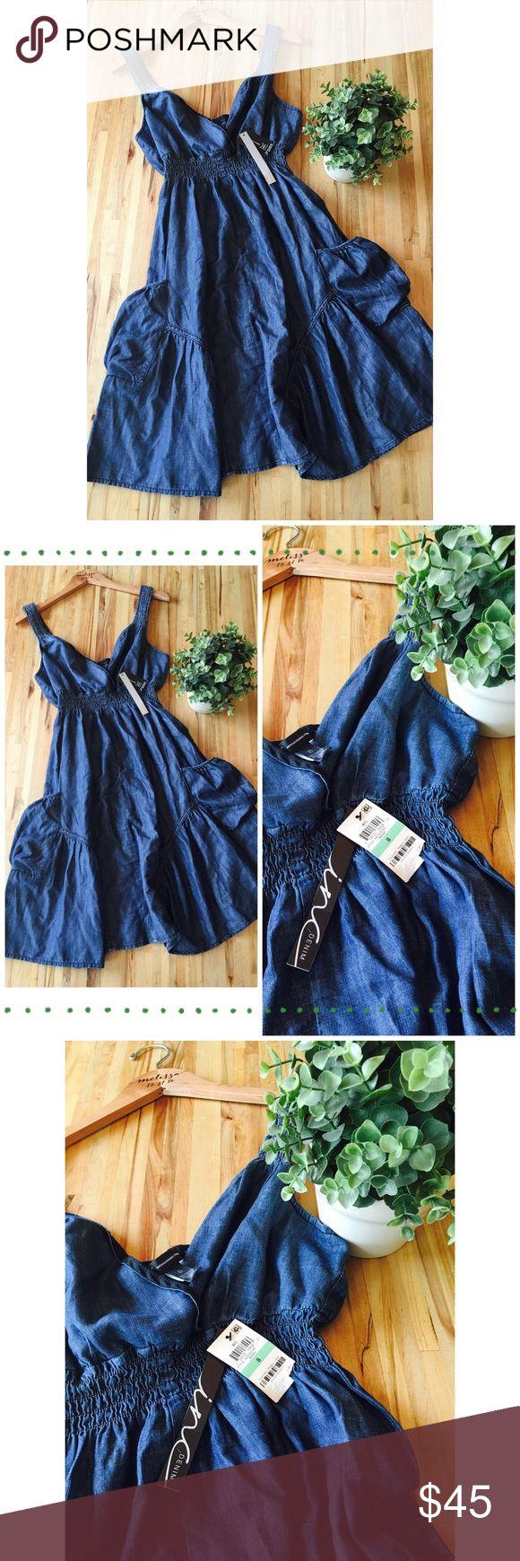 Macy's INC Denim Dress! Lightweight & Soft! Macy's INC Denim Dress! V neck with elastic under bust. Two pouch side pockets! Super cute! INC International Concepts Dresses