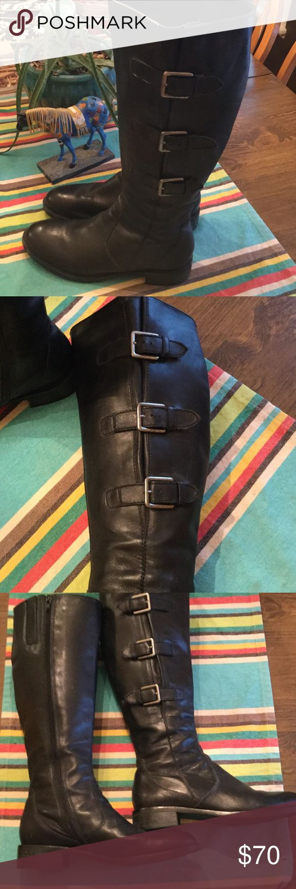 Ecco tall boots wide calf leather Ecco leather boots made with insert and elastic to expand for wide calf. Nice lightly used condition Ecco Shoes