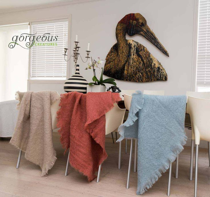 Mohair throws, so many amazing colours it is hard to choose. So why not get three and swap them around! From Gorgeous Creatures.