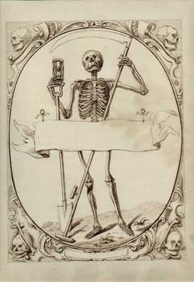 Skeleton Cartouche   Memento Mori  18th Century Drawing