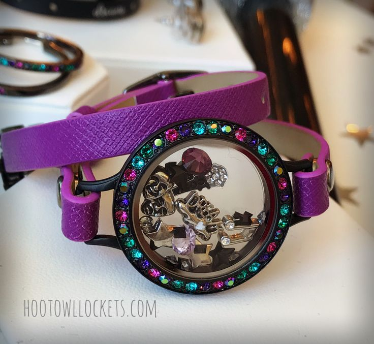 New Purple Wrap Band on the new Black Wrap bracelet Locket with multi-color Swarovski crystals. New this fall at Origami Owl