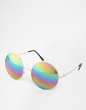 ASOS Oversized Metal Round Sunglasses With Rainbow Lens