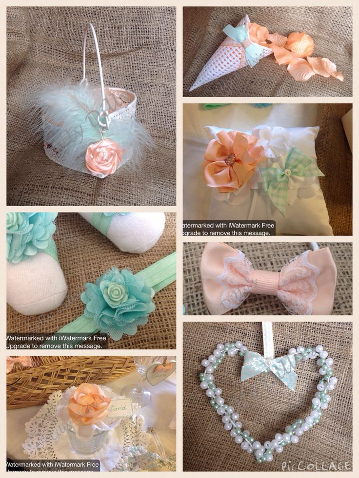 Luxury handmade bespoke wedding items from Lilly Dilly's, Soft Peach and fresh mint combination #wedding #accessories #peach #mint green #bespoke #handmade #luxury #table #flowergirl #ring #hair #confetti