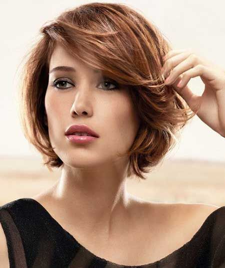 Short Bob Hairstyle, brown short hair, bangs to the side
