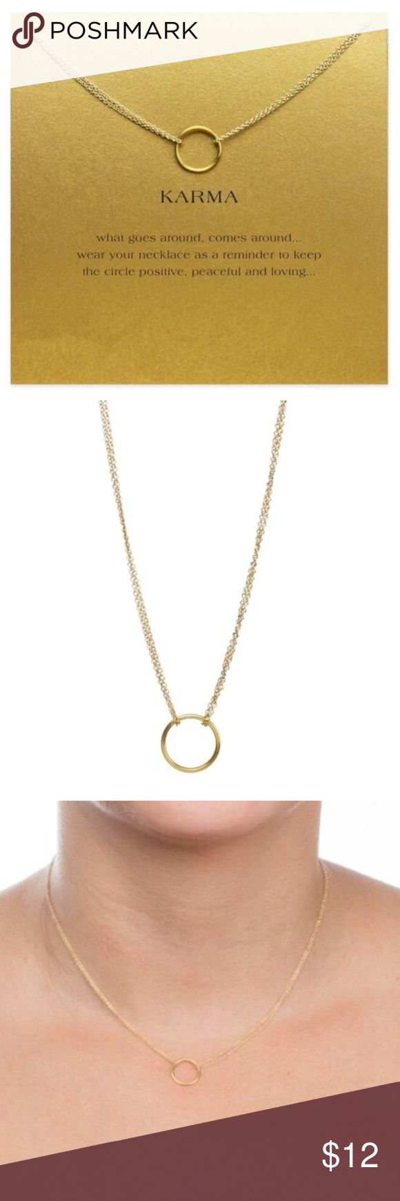 Karma Double Chain Circle Dainty Necklace Gold This Golden Threads Karma gold necklace choker on a delicate chain also includes a lovely gold card for you or your friend with the the printed saying; \What goes around comes around... wear your necklace as a reminder to keep the circle positive peaceful and loving...\.     The necklace has a 10\ with a 2.5\ extender for the perfect fit. golden threads Jewelry Necklaces