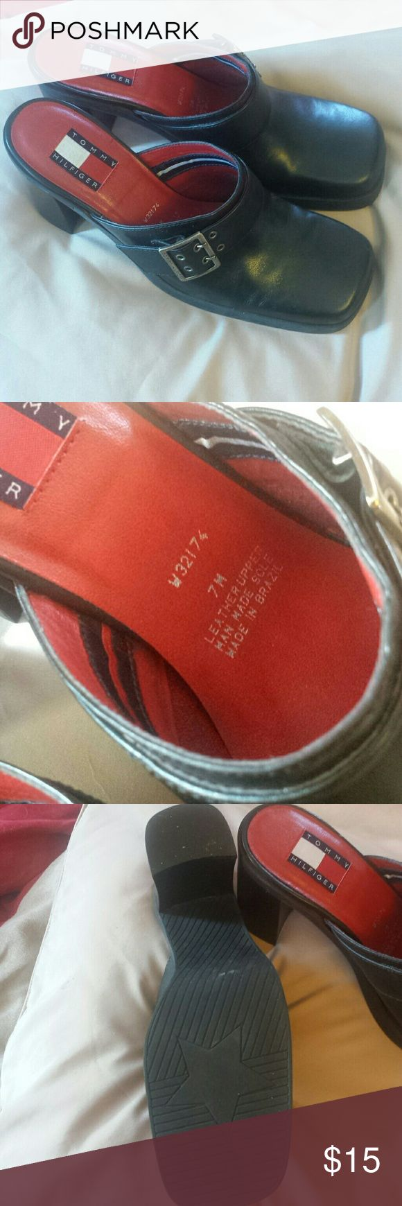 Tommy Hilfiger mules clogs vintage size 7M Tommy Hilfiger some would say mules others would say clogs either way their vintage square toe size 7M black leather with buckle red insoles, soles are not worn at all Tommy Hilfiger Shoes Mules & Clogs