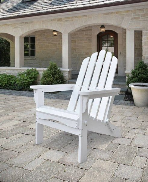 Marina White Cedarwood Adirondack Outdoor Folding Chair