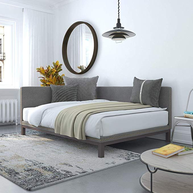 Amazon Com Dhp Dz61570 Dale Daybed Full Grey Linen Upholstered Bed Gray Kitchen Dining Daybed Room Sofa Bed Frame Upholstered Daybed