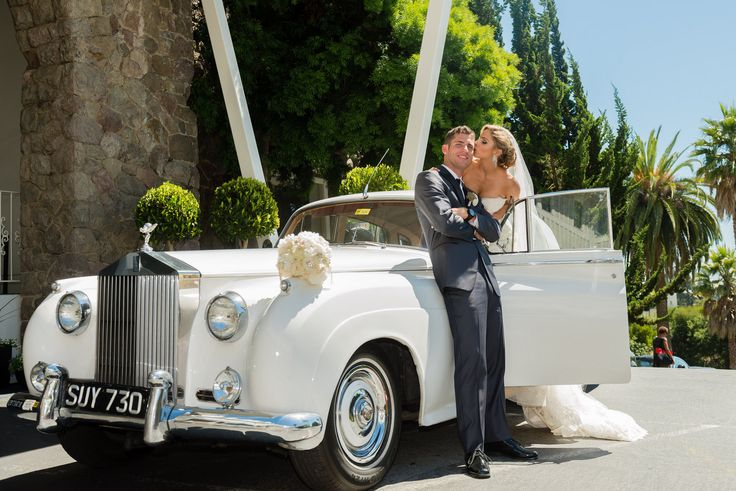 Old Hollywood glam wedding photos with rolls Royce