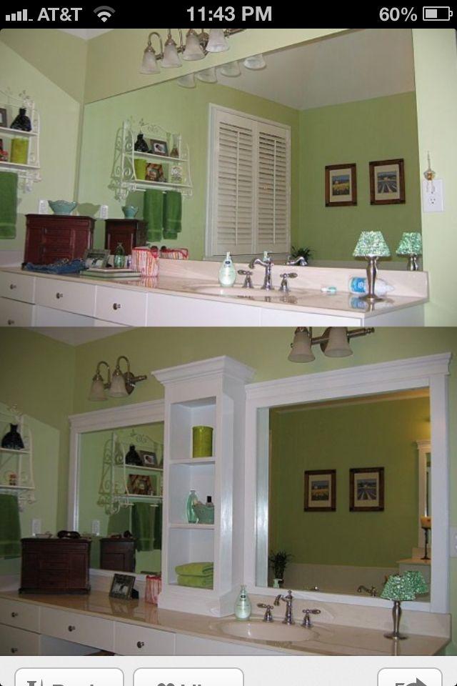 Master Bath- Remove Middle mirror and build in a shelf!  Bathroom DIY upgrade